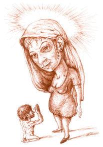 Zeichnung, Figur, Madonna, Frau