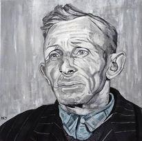 Acrylmalerei, Menschen, Mann, Schwarz weiß