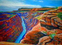 Grand canyon, Pastellmalerei, Colorado river, Landschaft