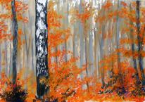 Landschaftsmalerei, Pastellmalerei, Herbstfarben, Birkenforst