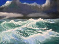Marinemalerei, Pastellmalerei, Nordsee, Sturm