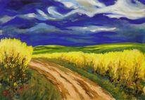 Rapsblüte, Pastellmalerei, Landschaftsmalerei, Malerei