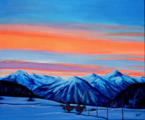 Landschaft, Malerei, Morgenrot