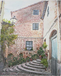Tusche, Mallorca, Idyllisch, Aquarellmalerei