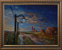 Dorf, Nach dem regen, Kirche, Sonnenuntergang