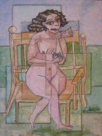 Aquarellmalerei, Abstrakt, Brust, Frau