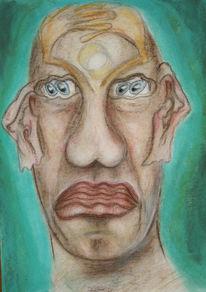 Skurril, Kopf, Gemälde, Portrait
