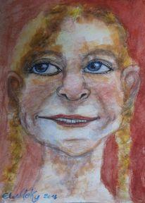 Frau, Menschen, Lachen, Malerei
