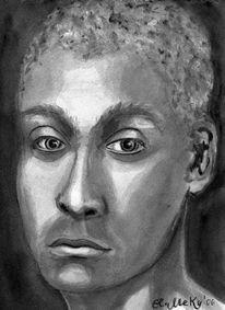 Portrait, Schatten, Aquarellmalerei, Anonymität