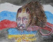 Rattenzähne, Gier, Aquarellmalerei, Ukraine