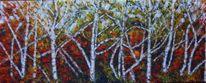 Herbst spargelbirken, Malerei,