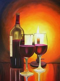 Kerzenschein, Merlot, Malerei, Rotwein