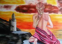 Wolken, Rapunzel, Turm, Surreal