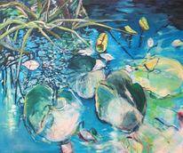 Blau, Blätter, Wasser, Spiegelung