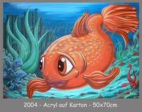 Comic, Fisch, Goldfisch, Acrylmalerei
