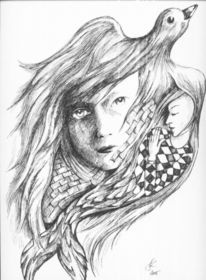 Mädchen, Surreal, Zeichnung, Vogel