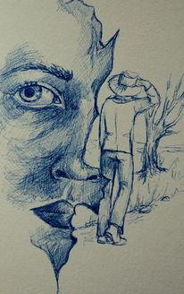 Blick baum mensch, Zeichnungen, Augenblick