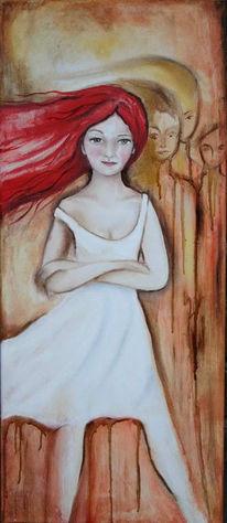 Figural, Malerei, Mädchen, Rot