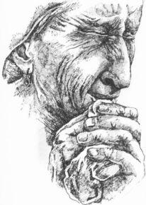 Weinen, Zeichnung, Frau, Portrait