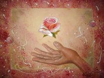 Rose, Blumen, Rosa, Hände