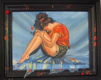 Zeitgenössisch, Symbolismus, Frau portrait farbe, Italienische