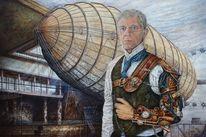 Luftschiff, Portrait, Mann, Steampunk