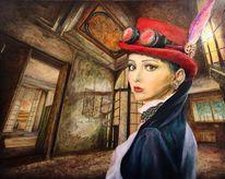 Porträtmalerei, Portrait, Frau, Verlassen