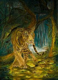 Jagd, Spannung, Surreal, Tiger