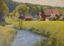 Realismus, Franken, Ölmalerei, Bauernhof