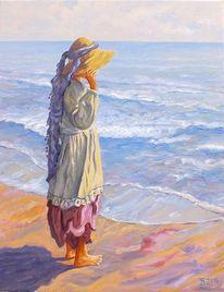 Strand, Mädchen, Kind, Malerei