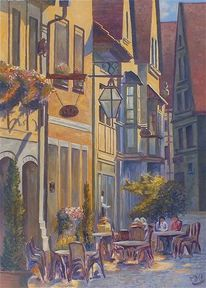 Ölmalerei, Bamberg, Architektur, Straßenszene