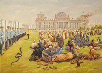 Politik, Spaltung, Sicherheit, Gemälde