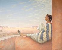 Afrika, Mädchen, Wüste, Malerei
