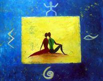 Figural, Afrika, Duo, Blau