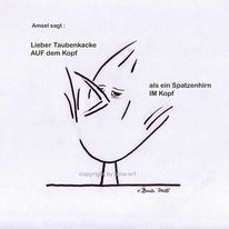 Cartoon, Comic, Zeichnungen, Amsel