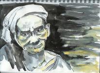 Portrait, Mann, Skizze, Alt