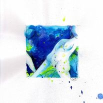 Aquarellmalerei, Aktzeichnung, Schwangerschaft, Brust