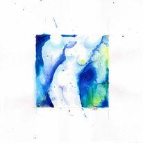 Blau, Akt, Grün, Aquarellmalerei