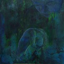 Wasser, Blau, Grün, Mischtechnik