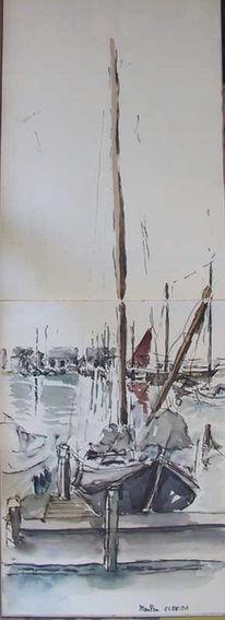 Ijsselmeer, Niederlande, Hafen, Skizzenbuch