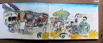Treiben, Markt, Bunt, Skizzenbuch