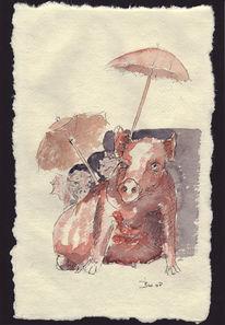 Schwein, Hand, Frau