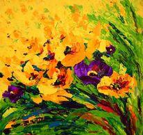 Feld, Frühling, Tulpen, Malerei