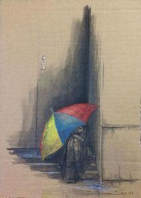 Schirm, Kirche, Schutz, Zeichnungen
