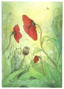 Aquarellmalerei, Mohnblumen, Mohn, Aquarell