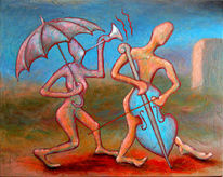 Musik, Acrylmalerei, Relief, Figur