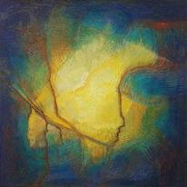 Abstrakte malerei, Mischtechnik, Acrylmalerei, Fantasie