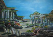 Felsen, Atlantis, Meer, Ozean