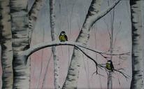 Birken, Baum, Winter, Kohlmeise
