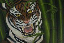 Tiger bambus, Malerei, Tiger, Bambus